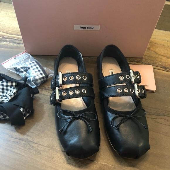 6bf87f1ebb3 NIB Miu Miu Belted Leather Ballerina Flats 37.5